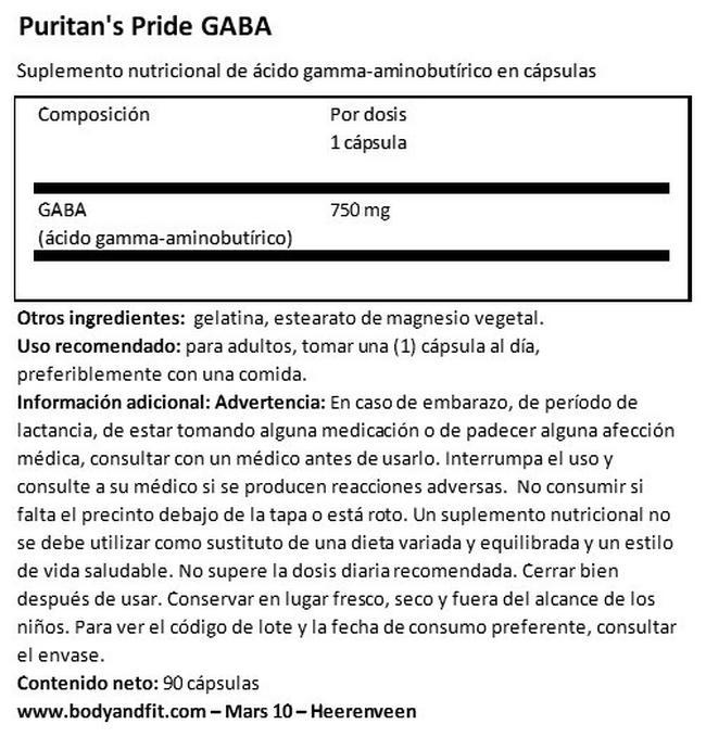 GABA ácido gamma-aminobutírico 750 mg Nutritional Information 1