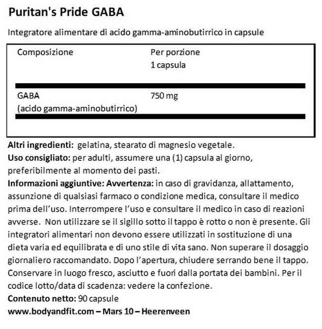 GABA (Acido gamma-amminobutirrico) 750 mg Nutritional Information 1