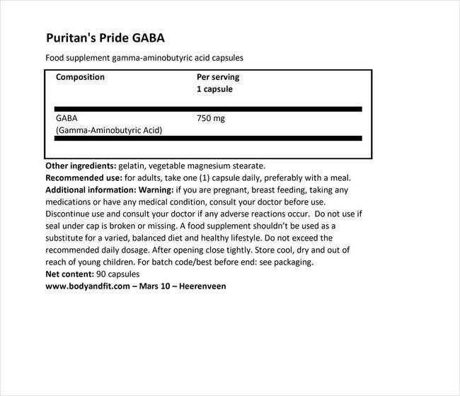 GABA(ガンマアミノ酪酸)750mg Nutritional Information 1