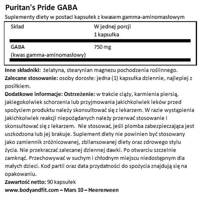 GABA (kwas gamma aminomasłowy) 750 mg Nutritional Information 1