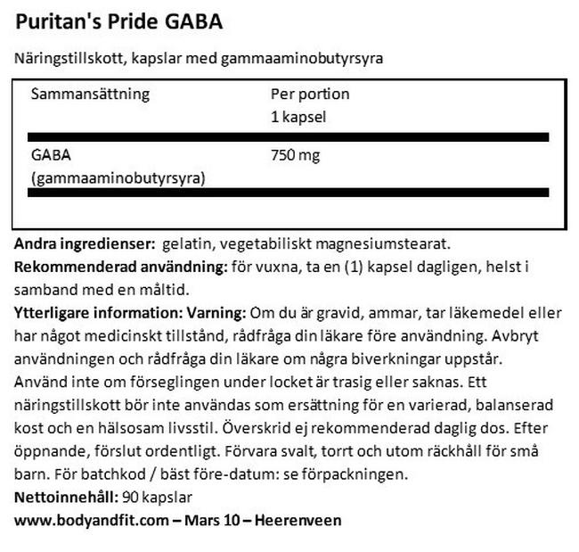 GABA (Gamma Aminobutyric Acid) 750mg Nutritional Information 1