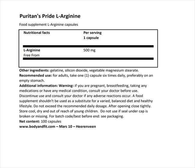 L-Arginine 500 mg Nutritional Information 1