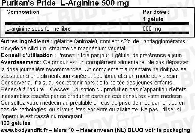 L-Arginine 500 mg Nutritional Information 1