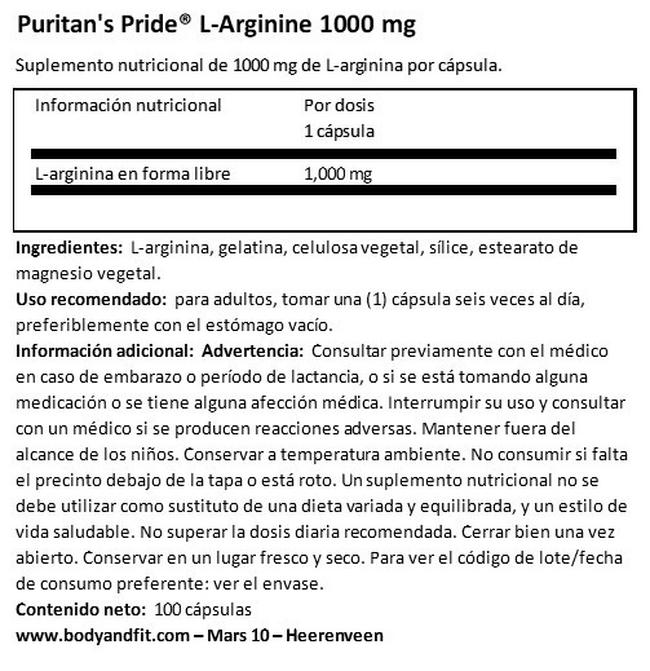 L-Arginine 1000 mg Nutritional Information 1
