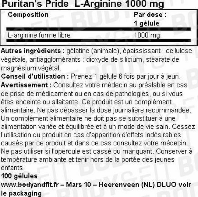 Gélules L-Arginine 1000mg Nutritional Information 1