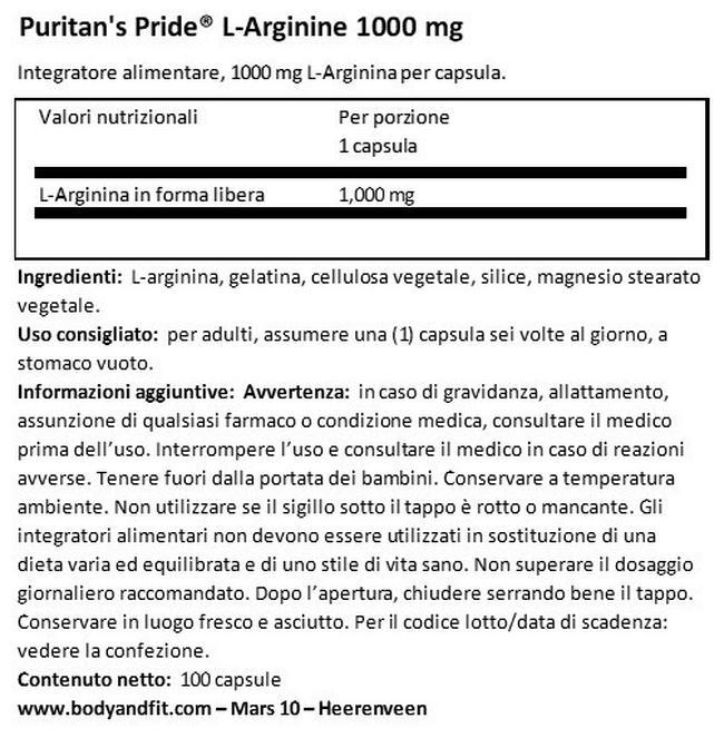 L-Arginine 1000mg Nutritional Information 1