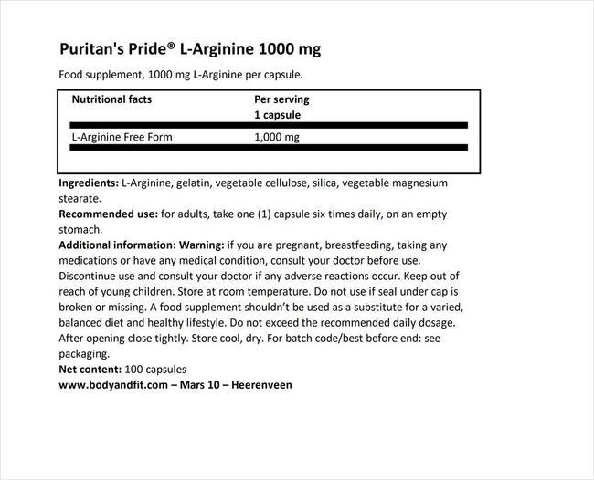L-아르기닌 1000mg Nutritional Information 1