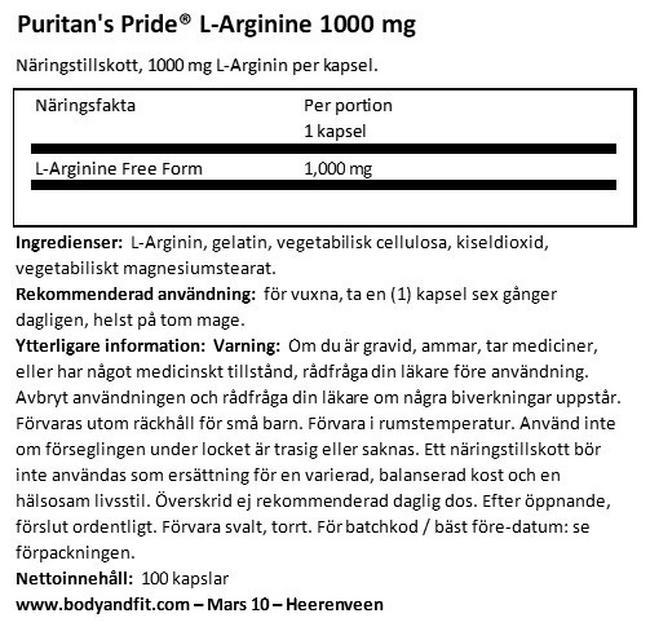 L-Arginine 1000 mg Nutritional Information 1