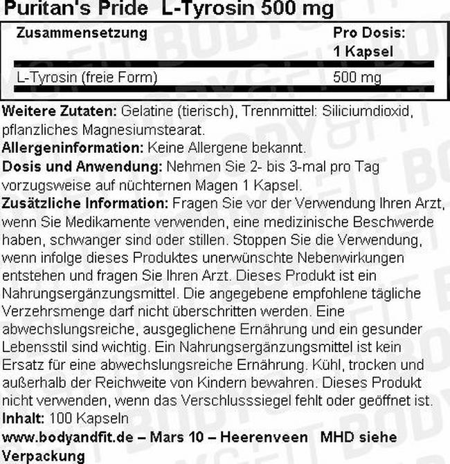 L-Tyrosine 500 mg Nutritional Information 1