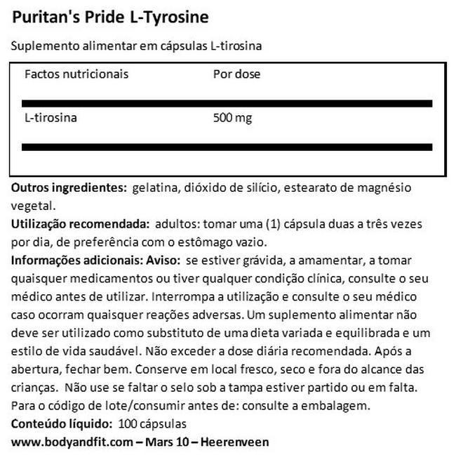 L-Tyrosine 500mg Nutritional Information 1