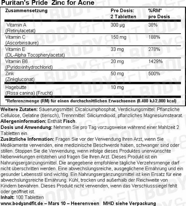 Puritan's Pride Zink gegen Akne - 100 tabs Nutritional Information 1