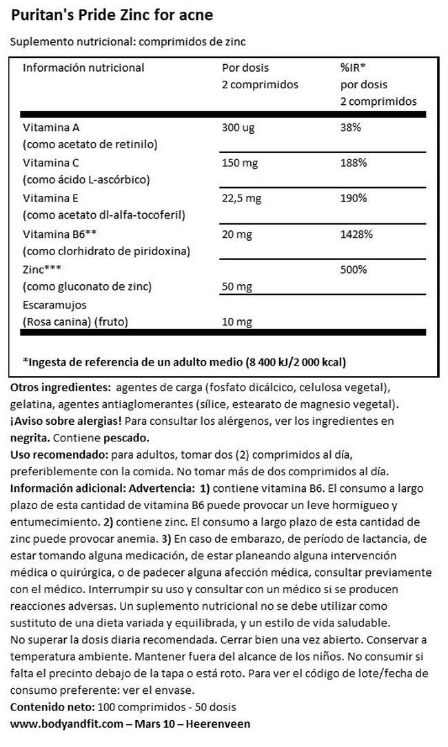 Zink para el Acne - 100 tabletas Nutritional Information 1