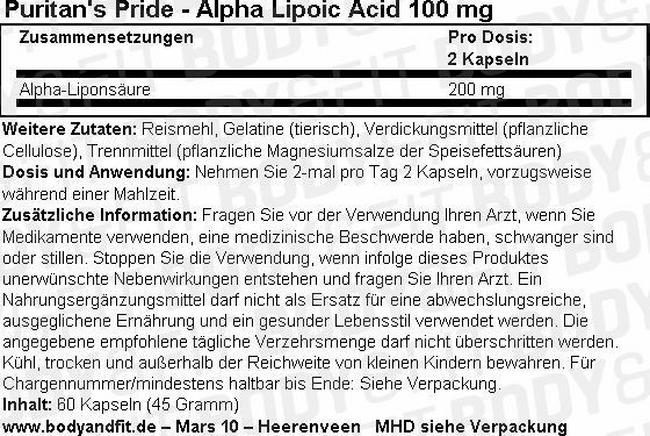 Alpha Lipoic Acid 100 mg Nutritional Information 1