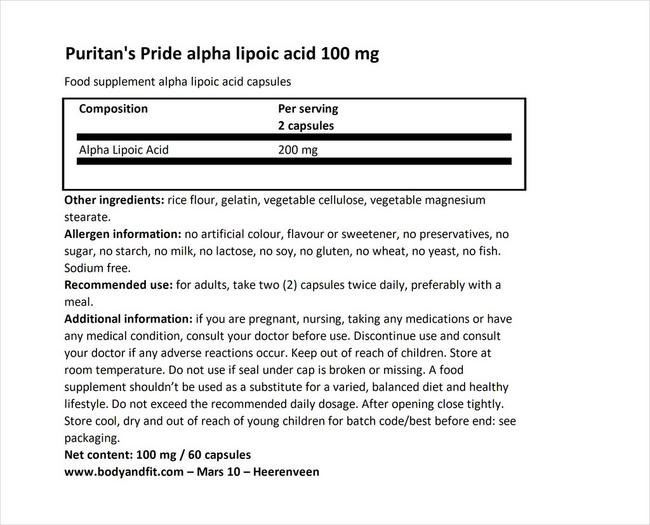 Alpha Lipoic Acid 100mg Nutritional Information 1