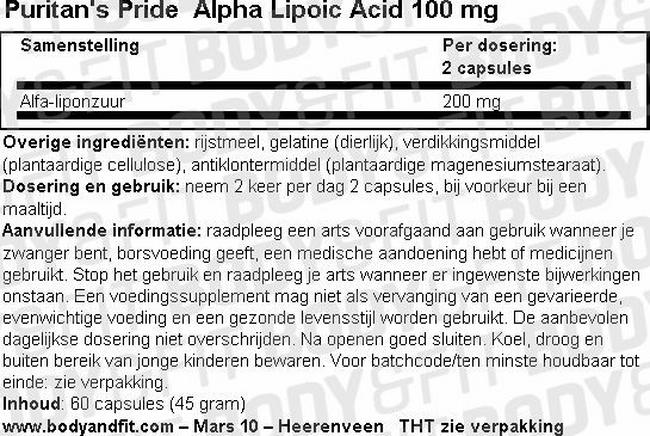 Alpha Lipoic Acid 100 mg Nutritional Information 1