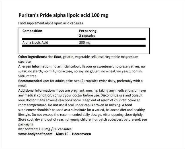 アルファ リポイックアシッド 100mg Nutritional Information 1