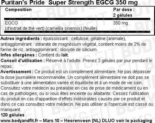 Super Strength EGCG 350 mg Nutritional Information 1