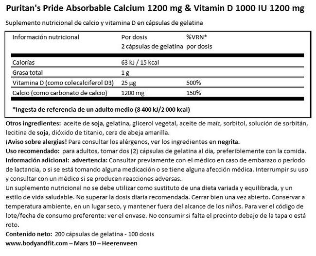 Calcio 1200 mg & Vitamina D 1000 IU 1200 mg Nutritional Information 1