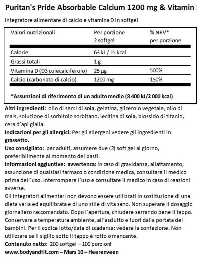 Calcio 1200 mg & Vitamina D 1000 IU 1200 MG Absorbable Nutritional Information 1