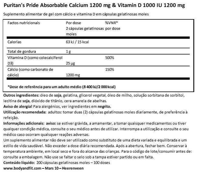 Absorbable Calcium 1200 mg & Vitamin D 1000 IU 1200 mg Nutritional Information 1