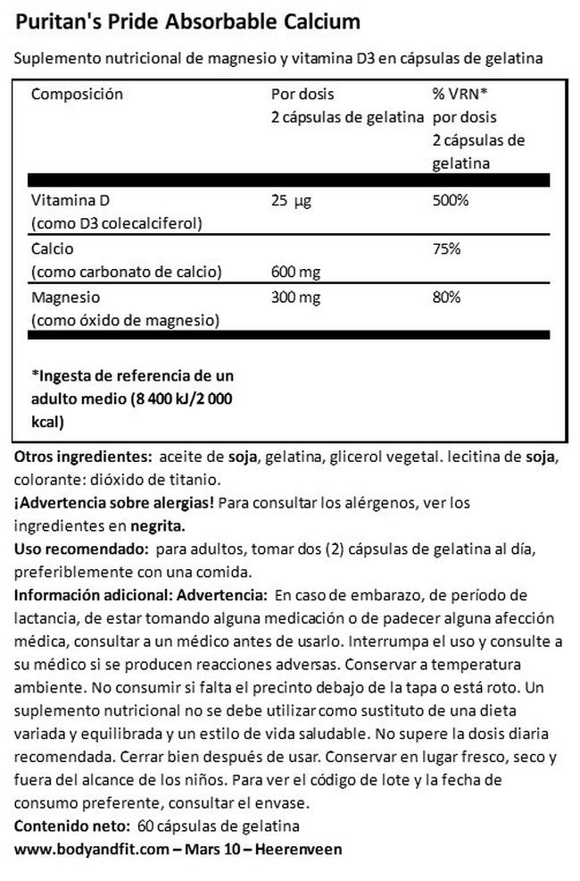 Absorbable Calcium 600mg, Magnesium 300mg & Vitamin D 1000IU Nutritional Information 1