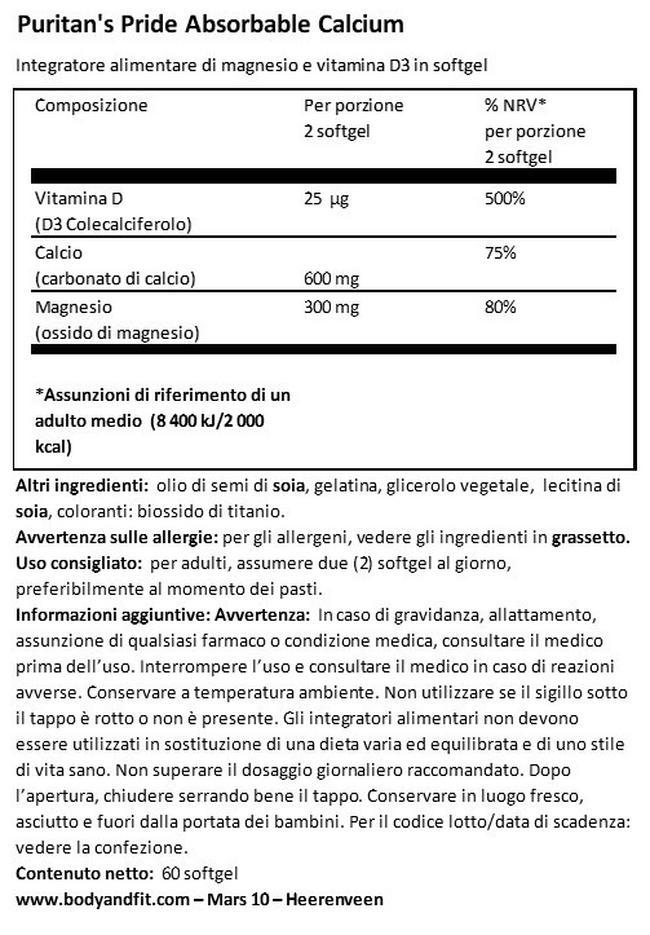 Calcio 600 mg, Magnesio 300 mg & Vitamina D 1000 IU Nutritional Information 1