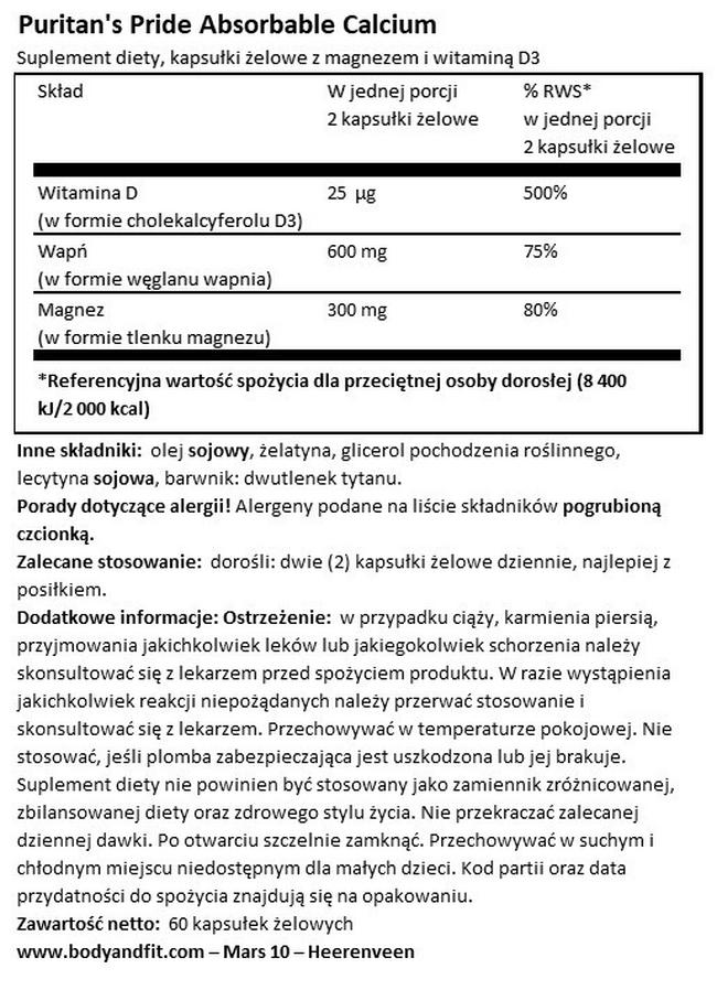 Absorbable Calcium 600 mg, Magnesium 300 mg & Vitamin D 1000 IU Nutritional Information 1
