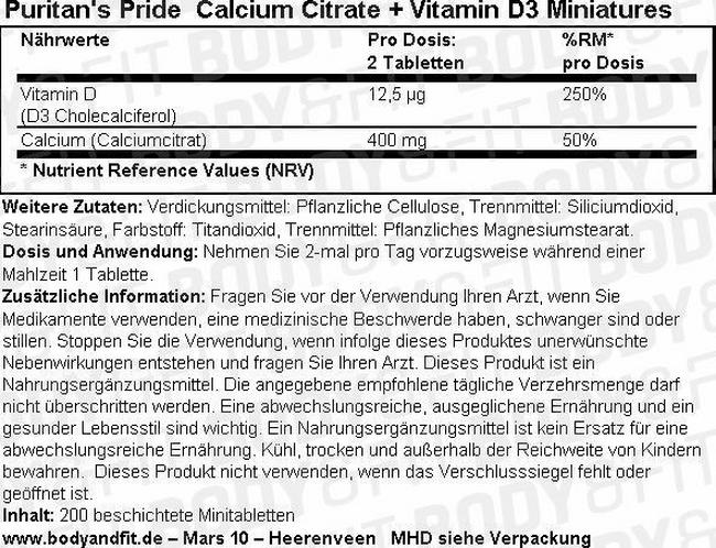 Calcium Citrate + Vitamin D3 Miniatures Nutritional Information 1