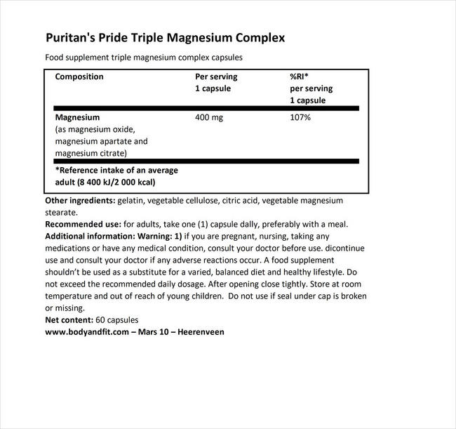 Triple Magnesium Complex 400 mg Nutritional Information 1