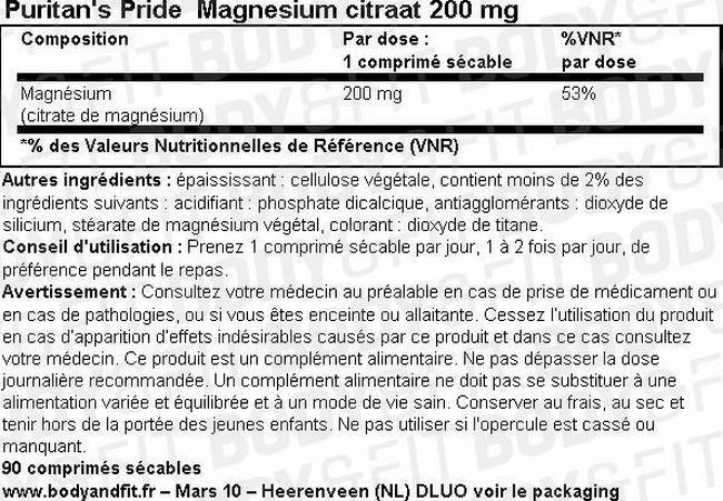 Magnesiumcitrat 200 mg Nutritional Information 1