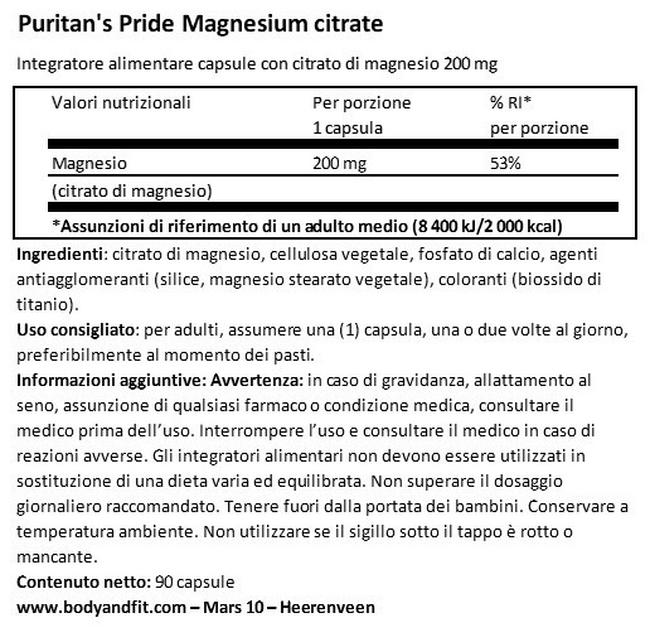 Magnesium Citrate 200 mg Nutritional Information 1