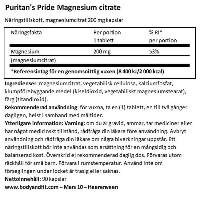 Magnesium Citrate 200mg Nutritional Information 1