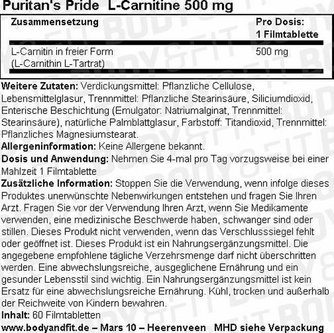 L-Carnitin 500 mg Nutritional Information 1