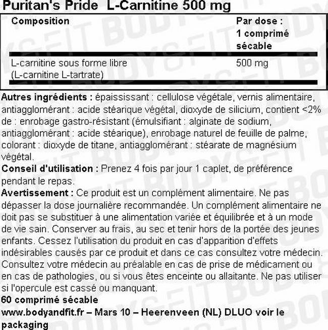 L-Carnitine 500 mg Nutritional Information 1