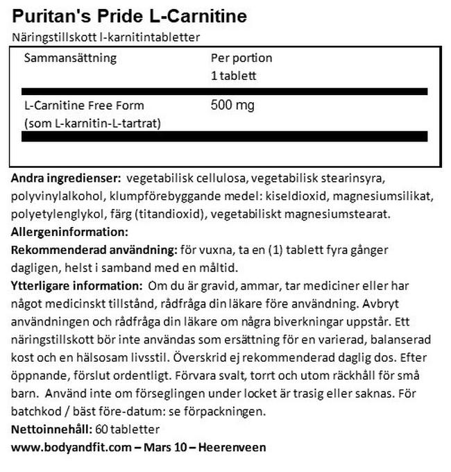 L-karnitin 500 mg Nutritional Information 1
