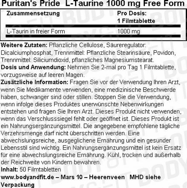 Taurin 1000 mg Free Form Nutritional Information 1