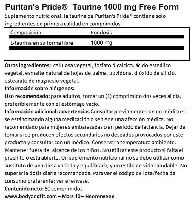 Taurine 1000 mg Free Form Nutritional Information 1