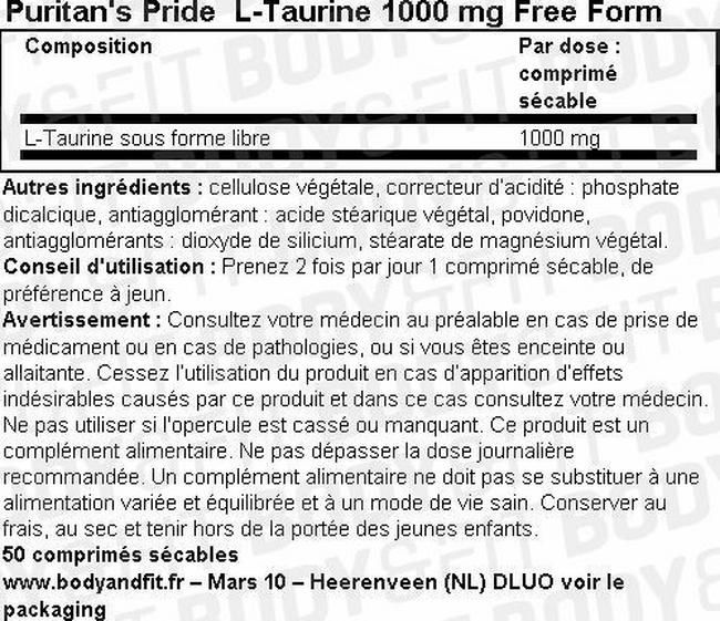 Taurine 1000 mg Free Form Nutritional Information 1