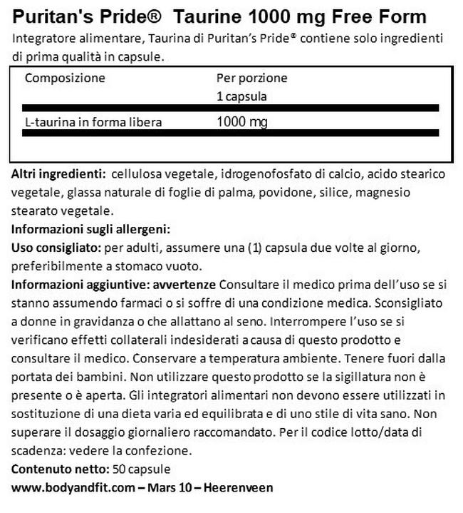 Taurina 1000 mg Nutritional Information 1