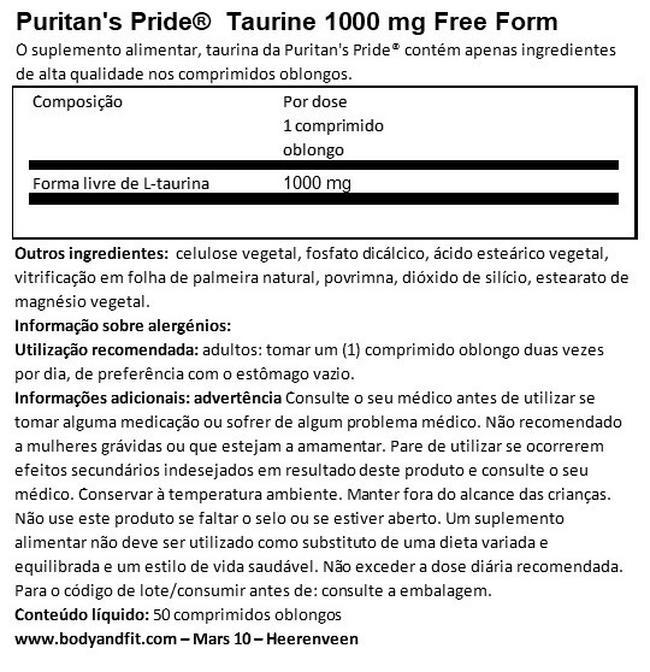 Forma livre de Taurina 1000mg Nutritional Information 1