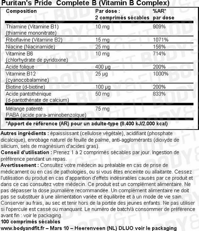 Complete B (complexe de vitamines B) Nutritional Information 1
