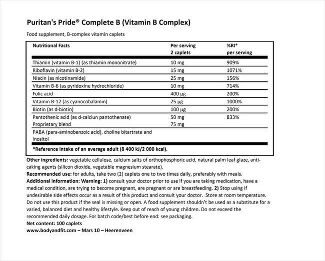 コンプリートB (ビタミンBコンプレックス) Nutritional Information 1
