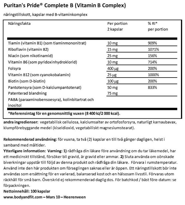 Complete B (Vitamin B-komplex) Nutritional Information 1
