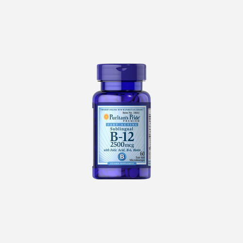 Vitamin B-12 2500 mcg Sublingual with Folic Acid, Vitamin B-6 and Biotin 2500 mcg