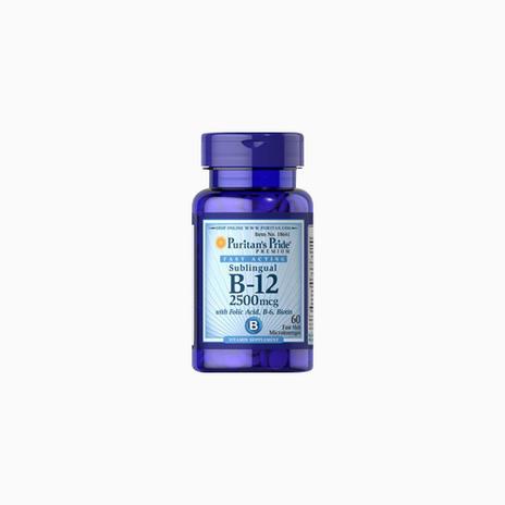 Vitamin B-12 2500 mcg Sublingual with Folic Acid, Vitamin B-6 and Biotin 2500 mcg