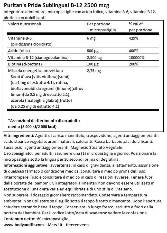 SUBLINGUAL VITAMINA B12 2500ΜG CON ACIDO FOLICO, VITAMINA B-6 E BIOTINA Nutritional Information 1