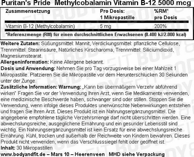 Methylcobalamin Vitamin B-12 5000 mcg Nutritional Information 1
