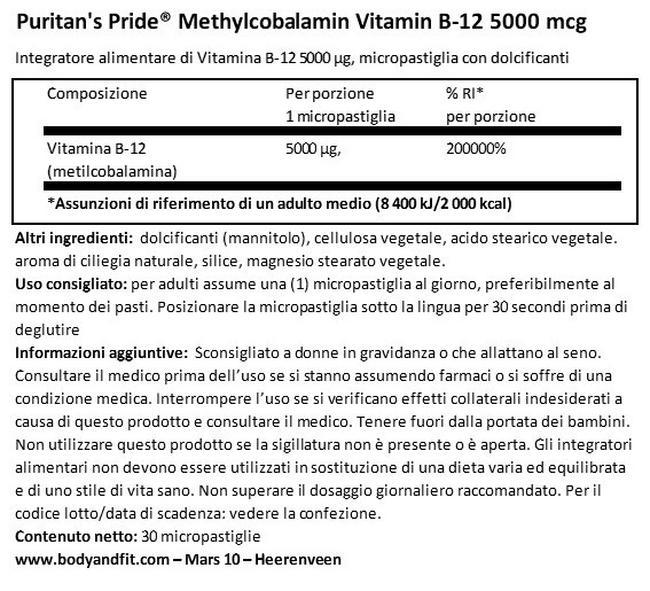 Metilcobalamina Vitamina b-12 5000 mg Nutritional Information 1