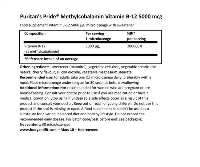 퓨리탄 프라이드 메틸코발라민 비타민 B-12 5000µg Nutritional Information 1
