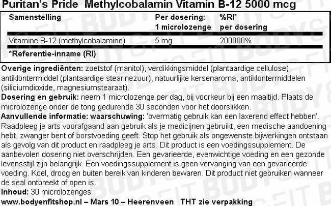 Methylcobalamin Vitamin B-12 5000 mcg Nutritional Information 1